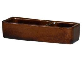 K&K Futternapf eckig geteilt für Futter + Wasser braun 25x10x6cm aus schwerer Steinzeug-Keramik -