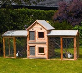 Kleintiervilla MAXI + Erweiterungsstall + 2 Auslaufgehege Kaninchenstall Stall -