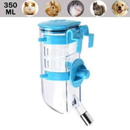 Luniquz 350ML Haustier Trinkflasche Kleintiertränke Nagertrinkflasche mit Halter Befestigung am Gitter für kleintiere/kleinhunde/kleinkatzen (Blau) -