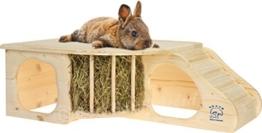 """Resch Nr11 """"Nagerhöhle XL"""" naturbelassenes Massivholz aus Fichte / mit Treppe zur Liegeterasse, integrierter Heuraufe, großen Eingängen und gerundeten Ecken -"""