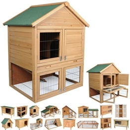 WOLTU® HT2003-c Kaninchenstall Hasenkäfig Hasenstall Kleintierstall Kaninchen Wetterfest 2 Stocke Stall 90*48*90 cm -