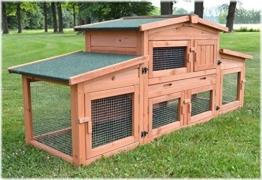Zooprimus Kaninchenstall 47 Hasenkäfig - KÖNIGSSTALL - Stall für Außenbereich (für Kleintiere: Hasen, Kaninchen, Meerschweinchen usw.) -