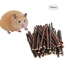 40 Stück Apfelholz Kauen Stöcke Zweige, Natur Holz Kauen Sticks für kleine Haustiere Kaninchen Hamster Meerschweinchen Spielzeug (natürliches Holz) - 1