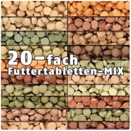 AQUALITY PREMIUM Futtertabletten-MIX '20 Sorten' 500 ml (Eine täglich ausgewogene Mischung von 20 verschiedenen Futtertablettensorten für Ihre Aquarium-Fische. Leckeres Fischfutter in Premium-Qualität) - 1