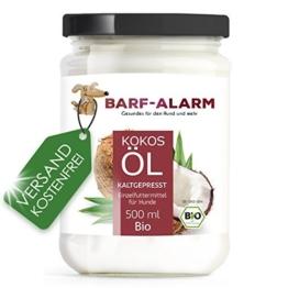 barf-alarm 100% Bio Kokosöl für Tiere 500ml - Kokosnussöl Kokosfett Hund - Bio Qualität- Kaltgepresst nativ - Kokos Öl flüssig – Welpen, Adulte, Senioren & Sporthunde - 1
