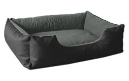 BedDog Hundebett LUPI/Hundesofa aus Cordura & Microfaser-Velours/waschbares Hundebett mit Rand/Hundekissen Vier-eckig/für Drinnen & draußen/XL / The-Rock/schwarz-grau - 1