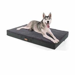 """brunolie """"Balu"""" Hundebett, waschbar, orthopädisch und Rutschfest, Hundekissen mit kuscheligem Plüsch, Größe XL, Dunkelgrau - 1"""