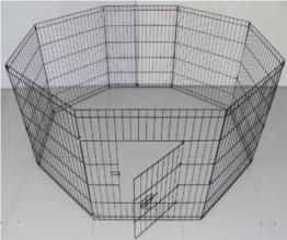 BUNNY BUSINESS Gehege für Kaninchen/Meerschweinchen/Hunde/Katzen, 8 Zaunelemente, klein, silberfarben - 1