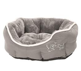 Dehner Hunde- und Katzenbett Sammy, oval, ca. 57 x 52 x 14 cm, Polyester, grau - 1