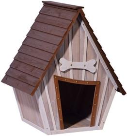 dobar 55012 Hundehütte ,XL Outdoor Hundehaus für große Hunde , Platz für ein Hundebett , Hundehöhle mit Spitzdach , 90x77x109 cm , 14kg Holzhütte , entfernbarer Boden | Farbe: braun/grau - 1