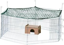dobar 80605 Großes Kaninchengehege aus 6 Elementen, mit Nylon Netz und Holzhaus, XXL Freilauf für Hasen, Freilaufgehege XL, 165 x 145 x 60 cm, Silber - 1
