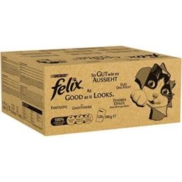 Felix So gut wie es aussieht in Gelee mit Rind, Huhn, Kabeljau und Thunfisch, Katzenfutter (120 x 100g Beutel) - 1