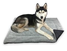 FLUFFINO Hundedecke - Flauschig, Weich u. Waschbar (Größe L, 104 x 68 cm, grau)- erhöhte Rutschfestigkeit durch Gumminoppen - Für große u. kleine Hunde o. Katzen - Hundematten/ Hundekissen, Katzendecke (L) - 1