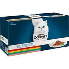Gourmet Perle Erlesene Streifen mit Huhn, Rind, Lachs und Kaninchen, Hochwertiges Nassfutter für Katzen (60 x 85 g Portionsbeutel) - 1