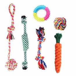 Habier Hundespielzeug, 6 Stück Kauspielzeug Hund Spielzeug Set Baumwollknoten Spielset Seil Interaktives Spielzeug für Kleine und Mittlere Hunde - 1