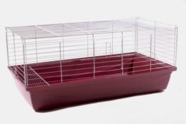 Hasenkäfig Kaninchenkäfig Meerschweinchenkäfig Kleintier Rabbit 100x54x48 weinrot - 1