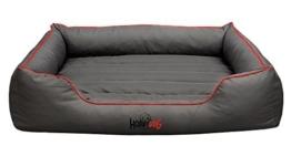 Hundebett Schlafplatz Hundekissen Comfort Große: XL Farbe: grau mit rot - 1