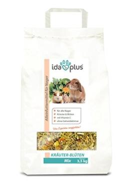 Ida Plus - Kräuter-Blüten Mix 3,5 kg - Abwechslungsreicher Futter-Mix für Nager: Kaninchen, Zwergkaninchen, Hamster, Meerschweinchen, Chinchillas usw. - mit Karotte & Luzerne + Vitamin C - 1