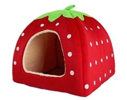 JYSPORT Haustierbett mit Entnehmbarem Katzenbett Hundebett Baumwoll-Bett Weichem Kissen Wasserfeste Unterseite (Erdbeere) - 1