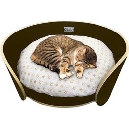 Katzenbett Katzensofa Katzenkörbchen Katzenbettchen Hundebett Tierbett mit Kissen aus Holz - 1