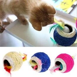 KatzenSpielzeug,Dairyshop Schöne Sisalseil Feder Kugel Teaser Scratch Chew Spielen Spielzeug für Haustier Katzen Kätzchen, Sisal - 1