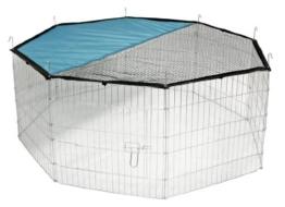 Kerbl Freigehege aus 8 Gittern, verzinkt, mit Netz und Tür, Ø 143 cm - 1
