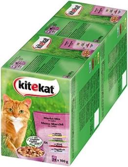 Kitekat Katzenfutter Nassfutter Adult für erwachsene Katzen Markt Mix in Gelee, 48 Portionsbeutel (2 x 24 x 100g) - 1