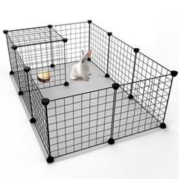 Koossy 12 Stahlgitter DIY Freigehege erweiterbarer Laufstall Welpenauslauf für Kleintiere wie Hase, Kaninchen, Meerschweinchen, Katze und Welpe, Schwarz - 1