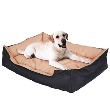 Leopet XXL Hundebett in 5 verschiedenen Designs 120x90x30cm inkl. Hundekissen und Hundedecke, Beige - 9