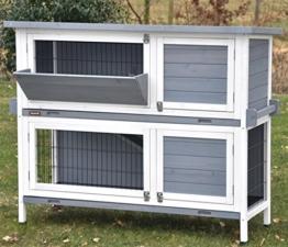 """nanook """"Bunny"""" - Kaninchenstall, Hasenstall doppelstöckig, wetterfest für draußen - mit Heuraufe und Tragegriffen - Farbe: grau / weiß - 1"""