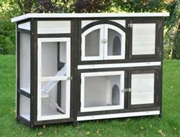 nanook Kaninchenstall, Hasenstall Jumbo XL mit seitlichen Aufgängen für mehr Platz - Wetterfest extragroß 138 x 48 x 109 cm braun/Weiss - 1
