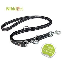 Nikkipet Hundeleine, schwarz + Reflektoren, massiv und verstellbar in 3 Längen 1,1 m – 1,8 m, 2 cm breit, für große und Mittlere Hunde, Hunde-Leine, Doppelleine, Geflochten - 1