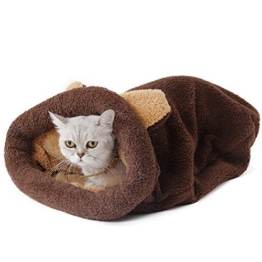 PAWZ Road Washable Cat Sleeping Bag Tent Dog Bed Snuggle Cave Cute Sack Mat for Kitten and Puppy Braun - 1