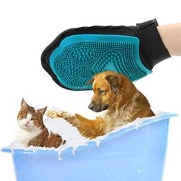 Poppypet 2-in-1 Hund und Katze Pflegen Pinsel Handschuh, blau - 1