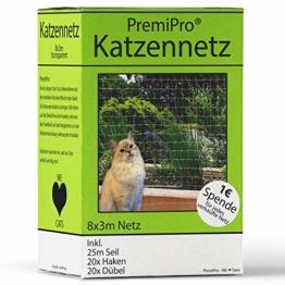 PremiPro Katzennetz für Balkon & Fenster | Extra Groß 8x3m | Transparentes Katzenschutznetz - Sicherheitsnetz Zum Schutz Ihrer Katze | Inkl. Haken, Dübel und 25m Befestigungsseil - 1