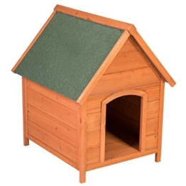 Ribelli Wetterfeste Hundehütte aus Braunem Tannenholz mit grünem Spitzdach - Hundehaus Hundehöhle mit Abnehmbarem Dach, ca. 66 x 82,5 x 74 cm - 1