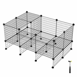 SONGMICS 20 + 12 Metallgitter Haustier-Laufstall mit Bodenplatten, Freigehege, individuell erweiterbarer DIY-Tierlaufgitter, für Welpen, Kaninchen, Meerschweinchen, inkl. Gummihammer, für Inneneinsatz, LPI03H - 1