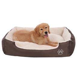 SONGMICS Hundebett mit beideseitig nutzbarem Hundekissen, kuschelig und groß (L: 90 x 70 x 17 cm) - 1