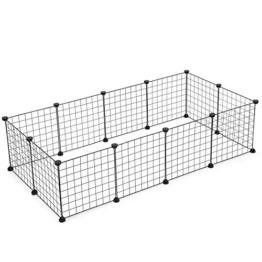 SONGMICS Verstellbares Laufgitter für Kleintiere und Meerschweinchen inkl Gummihammer Gittergehege für Innen individuell zusammenbaubar 143 x 73 x 36 cm (B x H x T) schwarz LPI01H - 1