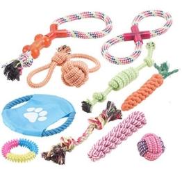 Sweetypet Wurfspiel für den Hund: 10er-Set Bunte Hundespielzeuge aus Baumwolle zum Kauen und Toben (Hunde-Spielzeugset) - 1