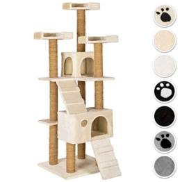 TecTake Katzen Kratzbaum Katzenbaum mittelhoch | Stämme komplett mit Kokosseil umwickelt | 2 Höhlen - diverse Farben - (Beige | Nr. 402190) - 1