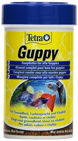 Tetra Guppy Hauptfutter für Guppys und andere lebendgebärende Zahnkarpfen, Miniflocken mit Farberstärkern, 100 ml Dose - 1