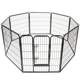TRESKO® Welpenlaufstall Freilaufgehege Welpenauslauf Hundelaufstall Tierlaufstall Hunde, mit Tür und wetterfester Hammerschlag-Lackierung - 1