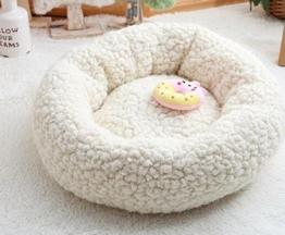 ZHJZ Katzenbett Sweet Candy Farbe Rund Nest Kennel Pet Nest Cremig-Weiß - 1