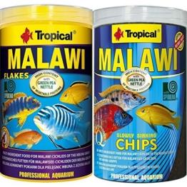 Tropical 1 Liter Malawi Chips + 1 Liter Malawi Flocken Doppelpack 2 er Set Cichlid Malawi Fischfutter - 1