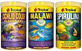 Tropical 1 Liter Spirulina Forte 36% + 1 Liter Malawi Flocken + 1 Liter Cichlid Color Flakes 3 er Set Fischfutter - 1